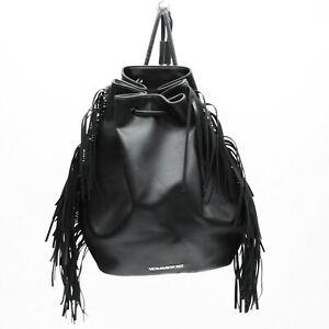 Victoria's Secret Faux Leather Fringe Sling Backpack Fashion Show Tote Hobo Bag