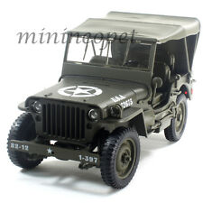 WELLY 18036W-H WILLYS 1/4 TON US ARMY JEEP with TOP UP 1/18 DIECAST CAR GREEN