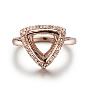 Engagement Ring Setting Solid 10K Rose Gold Semi Mount Trillion 11x11mm Diamonds