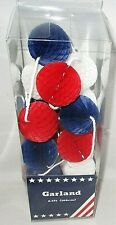 Patriotic Garland Decoration 6.5' Red White Blue Honeycomb Balls 4th of July New