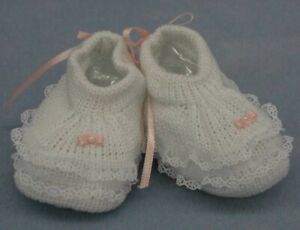 Will'beth Infant Newborn Baby Girls Knit Booties Lace Bow 0-3m Dolls Babies NWT