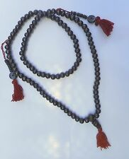 Tibetan Buddhist Black Yak Bone Meditation Mala Bead Necklace w Counter