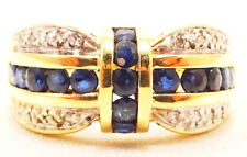 10k Solid Gold Sapphire & Diamond Ring Beautiful Design Can Be Sized Free Ship