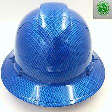 FULL BRIM Hard Hat custom hydro dipped , CARBON FIBER CANDY BLUE,