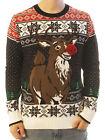 Ugly Christmas Sweater Men's 3D Pop Out Reindeer Surprise Sweatshirt
