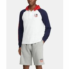 Polo Ralph Lauren Men's Hooded Rugby Chariots Polo USA Long Sleeve Shirt White