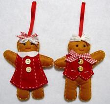 "HAND~CRAFTED 6"" GINGERBREAD BOY & GIRL FELT CHRISTMAS ORNAMENT PAIR"