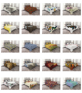Printed Quilted Bed Cover Set Coverlet Bedspread by Ambesonne