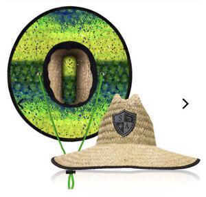Salt Armour Wide Brim Quality Straw Hat MAHI fish UV Protectant Wind Resistant
