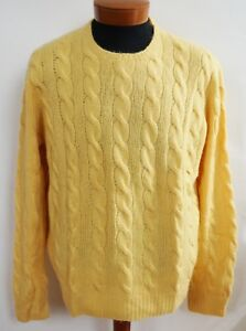 NWT RALPH LAUREN PURPLE LABEL Yellow CABLE-KNIT 100% CASHMERE Sweater XXL/2XL