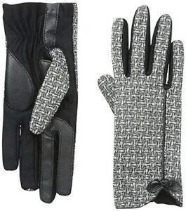 Isotoner Women's Smartouch Black Basket Weave Glove w/Bow & Binding - MSRP $52