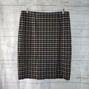 J Jill Womens Ponte Pencil Skirt Sz Large Petite Black Tan Pull On