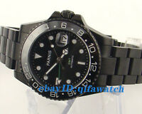 40mm Parnis Ceramic Bezel Black Dial GMT Style PVD case Automatic Men Watch E964