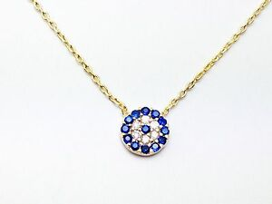 Evil Eye Pendant Charm Sterling Silver Gold Plated Necklace Crystal Kabbalah