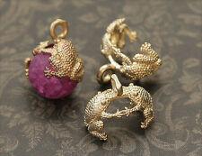 2x Frosch Perlkappen Endkappen für 10mm Perlen matt-gold sz413