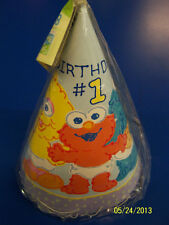 RARE Sesame Street Beginnings Kids Cute 1st First Birthday Party Favor Cone Hats