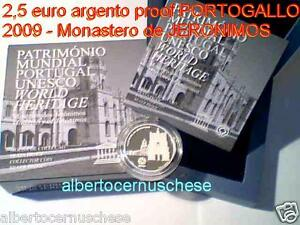 2,5 euro 2009 Ag Fs BE PP proof Portogallo Portugal Jeronimos Португалия
