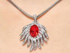 18K White Gold Plated Made With Swarovski Crystal Red Feather Charming Necklace