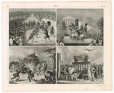ANTIQUE PRINT VINTAGE 1851 ENGRAVING ROME ITALY FORUM THEATER FUNERALS GLADIATOR