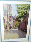 """S.C. Sabina """"Acorn Street"""" Boston, MA Signed Lithograph Print matted, sealed"""
