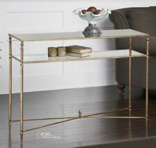 """Henzler Console Sofa Table Hollywood Regency Antique Gold Leaf Mirror Glass 45""""W"""