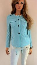 MARCCAIN Damen Jacke N1 34 XS Baumwollmischung mit Leinen türkis Wash Out