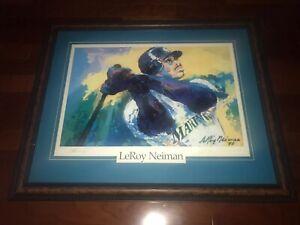 Leroy Neiman / Ken griffey Jr. signed Framed color print Limited To 200 Not UDA