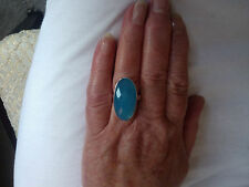 SOLID 925 STERLING SILVER GENUINE GEMSTONE BLUE CHALCEDONY RING SIZE P - Q