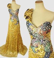 Size 0 Tony Bowls $600 Mermaid Gold Sequin Long Gown Prom Formal Pageant Dress