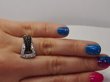 and Black Cubic Zirconia Stones Silver Plated Ring with White