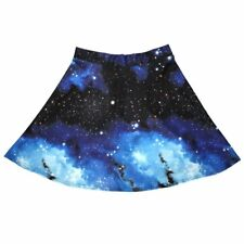 Ladies Blue Galaxy Planets Cosmos & Space Print Flared Skirt Size 8-22