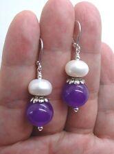 Water Pearls Sterling Silver Earrings A0316 Bold Purple Jade W. White Fresh