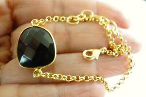 Black Onyx Faceted Solitaire 18K Gold Overlay Copper Artisan Chain Bracelet