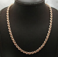 """18"""" Technibond Twisted Round Rope Chain Necklace 14K Rose Pink Gold Clad Silver"""