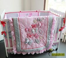 Baby Girls 6 Pieces Pink Butterfly Cotton Nursery Bedding Crib Cot Sets