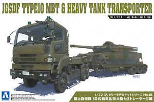 1:72 Scale JGSDF Type 10 MBT & Heavy Semi Truck Trailer #1291