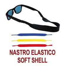 LACCIO OCCHIALI da Sole Vista SOFT SHELL Sportivo ELASTICO NASTRO CORDA BLU NERO