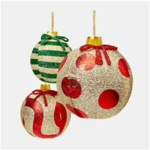 Pack Of 3 Inflatable Glitter Christmas Baubles Ornament Balls Decoration Xmas