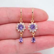 18K Yellow Gold Filled Women Purple Topaz Gorgeous Sunflower Dangle Earrings