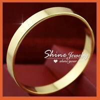 9K YELLOW GOLD FILLED WOMEN MENS SOLID WIDE BAND PLAIN BANGLE BRACELET XMAS GIFT