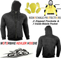 MENS GREY FLEECE HOODIE WITH KEVLAR REMOVABLE ARMOUR MOTORBIKE MOTORCYCLE JACKET