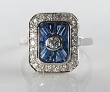 CLASSE 9K 9CT Bianco Oro Blu Zaffiro Diamante Anello Art Deco INS libero Ridimensiona
