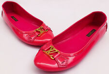 Louis Vuitton Italy 36.5/5.5US Pink Patent Leather Ballerina Flats Driving Moccs