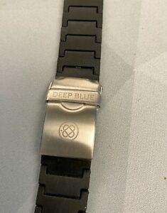 Black PU Bracelet Individual Links lightweight Deep Blue Watch. steel clasp 22mm