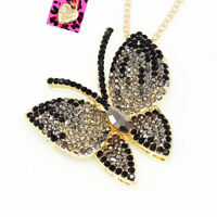 Betsey Johnson Crystal Rhinestone Butterfly Pendant Chain Necklace/Brooch Pin