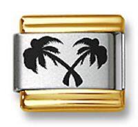 Italian Charm Bracelet Links Laser Palm Trees Gold Trim 9mm Stainless Steel
