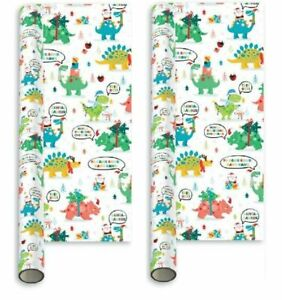 10m (2x5m) Children's Christmas Wrapping Paper Roll - Christmas Dinosaur