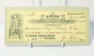 1916 USA Cooperstown NY First National Bank Cheque $15.49 #USC