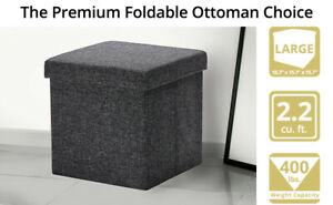 seville classic's inc foldable storage cube ottoman- charcoal grey model no web
