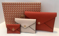 Tory Burch Carter Envelope Clutch Trio Set 67325 Brilliant Red Pink Gft Bag NWT